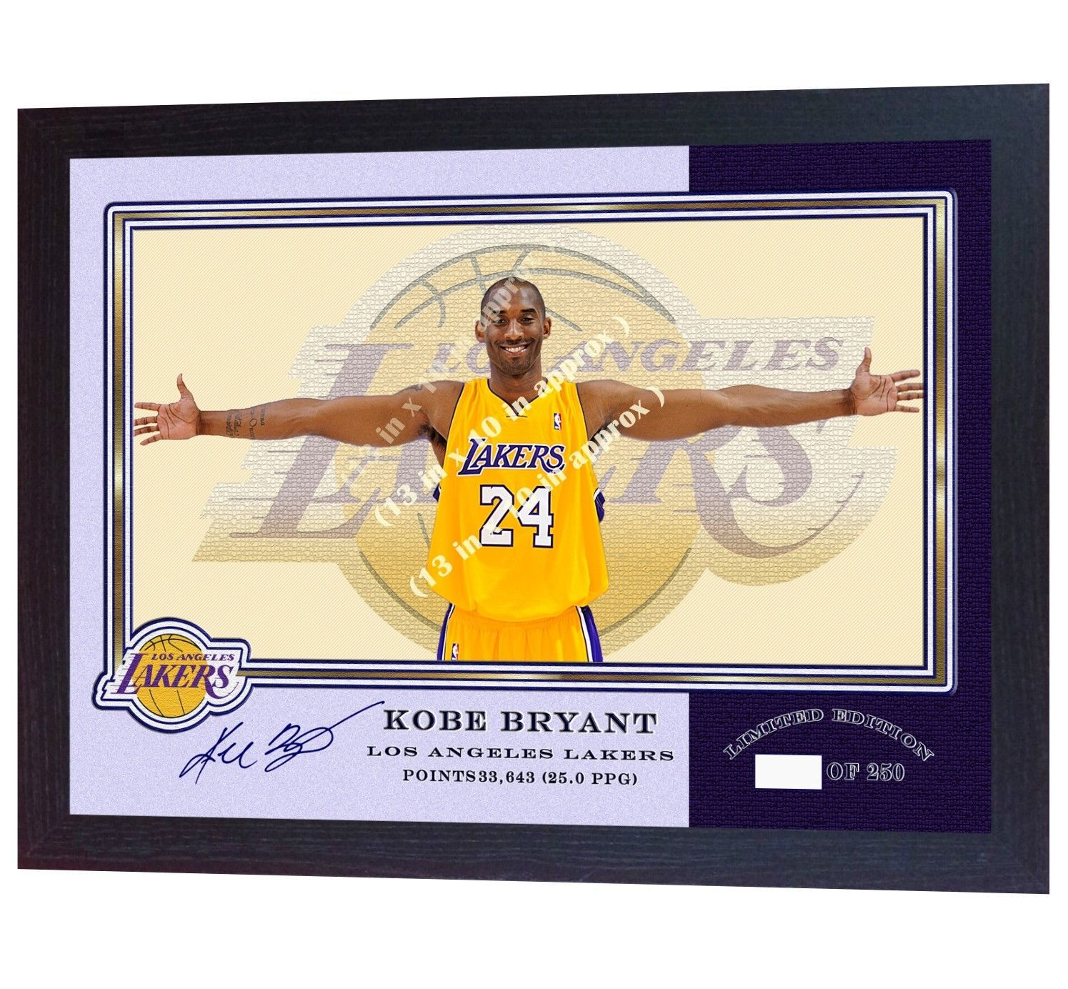 Kobe Bryant Photo print LA Lakers NBA signed autograph picture Basketball Framed