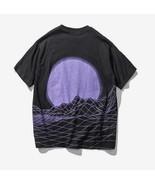 Kawaii Clothing T-Shirt Vaporwave Purple Moon Sun Mountain Digital Oversize Cool - $21.50