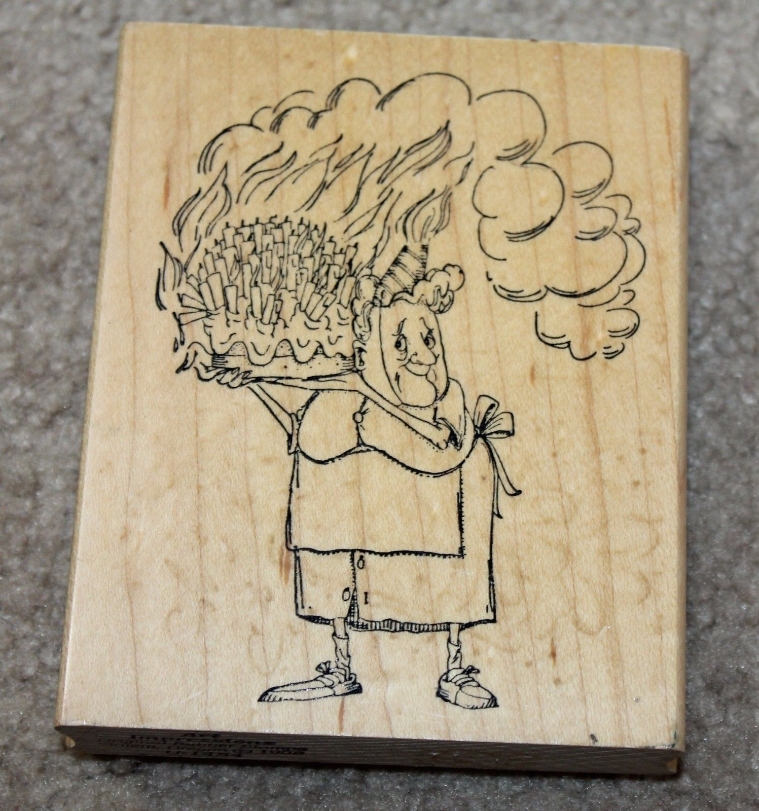 Birthday Lady With Cake Rubber Stamp Art Impressions Grandma Old Woman Candles