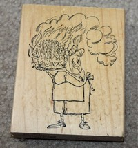 Birthday Lady With Cake Rubber Stamp Art Impressions Grandma Old Woman Candles image 1