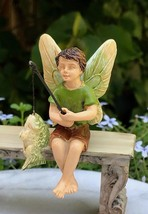 New Garden Decor Accessories Miniature Fairy Garden ~ sitting Fishing Fairy - $16.00