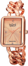 Burgi Women's Rectangle Diamond Watch - Embossed Dial with Genuine Diamo... - $145.76