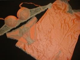 Victoria's Secret 34B,34DD BRA SET+S panty+Slip Gold Orange sequin crystallized - $98.99