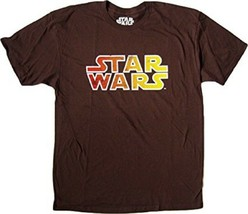 RETRO STAR WARS LOGO MEN'S LARGE BROWN 100% COTTON GRAPHIC T-SHIRT NEW - $12.97