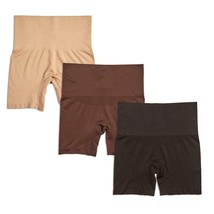 Yummie Seamless Shaping Shortie 3-pack in Almond/Coffee Bean/Black, M/L ... - $19.79