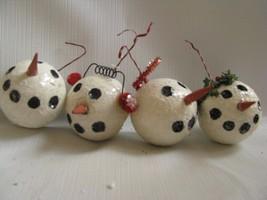 4 Snowball head Ornaments Foam, Glitter Halo Earmuffs - $9.85