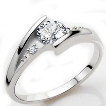 Round Cut CZ 925 Sterling Silver White Gold Plated Solitaire Bypass Ring Size 5 - $49.56