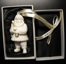 Pandora Christmas Ornament 2013 Porcelain Santa with Fabric Trinket Bag ... - $19.99