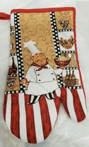 "Printed Kitchen 13"" Large Oven Mitt, FAT CHEF & VARIOUS FOODS, w/red bac... - $7.91"