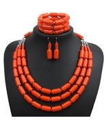 Nigerian Wedding Bridal Jewelry Sets Bead Necklace Earrings Bracelet Set... - $40.68
