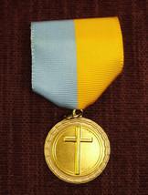 CROSS religion pin ribbon light blue and gold medal - $2.59