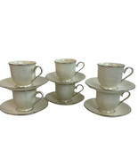 Lenox Courtyard Platinum Cup & Saucer Lot If 6 New With Tags - $93.46