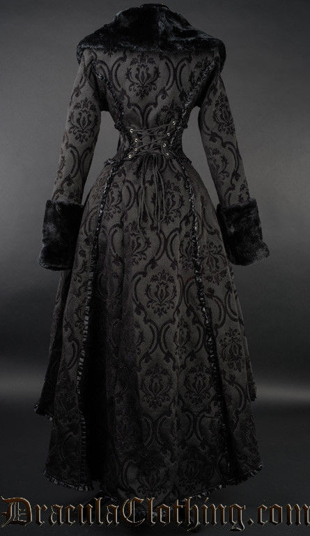 Black Evil Queen Brocade Gothic Victorian Winter Long Corset-Back Steampunk Coat