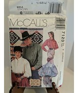 McCall's 7123 Sz Y S-L Pattern Misses & Men's Loose Shirt Country Western - $11.88