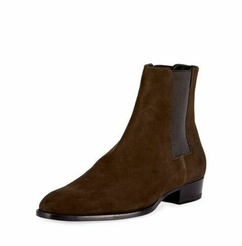Primary image for Men Brown Chelsea Jumper Slip On Suede Premium Quality Leather High Ankle Boots