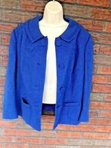 Vintage Blue Wool Jacket Large Button Front Shoulder Pads USA Made Union... - $19.60