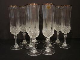 Set of 10 Cristal D'Arques Durand Longchamp Gold Flutes- Champagne Glasses - $100.00