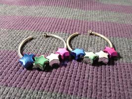 Rainbow Star Hoop Earrings - $10.95