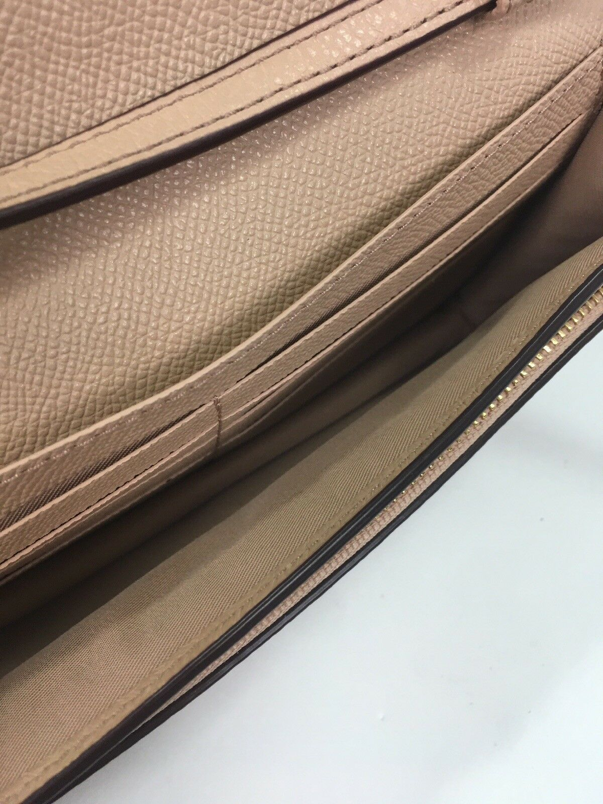 Coach Crossbody Bag Pebbled Leather Fold over Clutch F54002 Nude Pink B12
