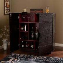Black Red Dry Bar Storage Folding Server Wine Rack Wooden Liquor Cabinet... - $294.92