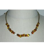 VTG AVON SAO Signed Gold Tone Faux Amber Stone Necklace - $19.80