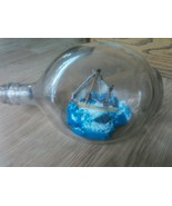 Vintage 3 sided jug Nautical 2 Mast Sailing Ship In A Glass Bottle Ocean... - $53.87
