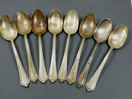VTG Gorham Plymouth Sterling Silver pat 1911 set of 8 tea spoons Monogra... - $180.18