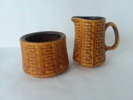 Ceramano Epsilon Stoneware Creamer Sugar Bowl Gold Brown Bracket No Lid ... - $18.55