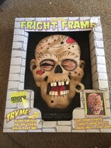 ANIMATED HALLOWEEN FRIGHT FRAME ZOMBIE SKULL RED EYES CREEPY LAUGH - $14.80