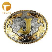 Initial Letter J Metal Belt Buckle Suit for 3.8-4 cm Snap Belt - $13.60