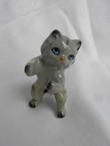 Vint Ceramic Pottery Black & Gray Striped Cat/Kitten Figure Standing on ... - $3.99