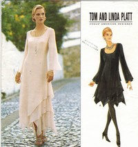 Misses Tom Linda Platt Handkerchief Hem Overlays Evening Dress Sew Patte... - $16.99