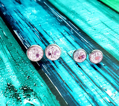 Pink Glitter with Confetti Stud Earrings 10mm or 12mm - £5.35 GBP
