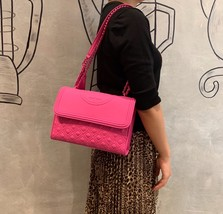 Tory Burch Fleming Convertible Leather Shoulder Bag Large Crazy Pink - $329.00