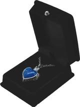 """Blue Heart Pendant w/20"""" chain & black velvet display box - $149.99"""