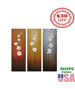 Wall Painting Abstract White Flowers Best Interior Design Idea Home Decoration - £42.74 GBP - £65.93 GBP