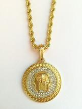Hip Hop 14K Gold GP Iced CZ Pharaoh King Tut Egyptian Pendant w Rope Nec... - $9.49