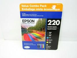 NEW EPSON 220 Combo Black Cyan Magenta Yellow Ink Jet Cartridges Expire ... - $39.55