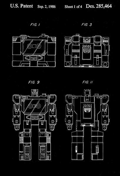 Primary image for 1986 - Soundwave - Communicators - Transformers Robot - Patent Art Poster