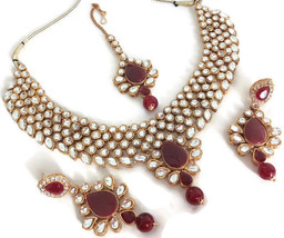 New Indian Gold Plated Fashion Maroon Kundan Bridal Necklace Earring Jewelry Set - $31.99