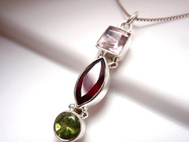 Faceted Amethyst Garnet Peridot  Pendant Sterling Silver Square Marquise as68c - $14.84