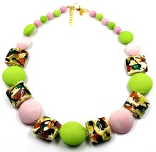 NECKLACE PINK GREEN SQUARE & DISC, MURANO GLASS, GOLD LEAF, MADE IN ITALY image 1