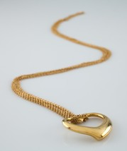 "Elsa Peretti Vintage 18k Yellow Gold Open Heart Pendant w/ 36"" Mesh Chain - $2,779.92"