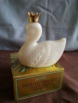 1970's Avon Royal Swan Decanters One Milk Glass, Cotillion 1 l oz, FULL - $3.50