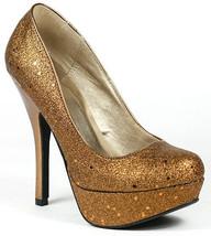Bronze Glitter High Stiletto Heel Round Toe Platform Pump Qupid - $9.99