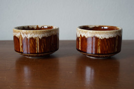 Pair of Vintage Hall Pottery Brown Drip Glaze Bowls # 2788 Made in USA - $14.46