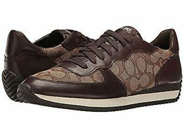 Woman's Coach Signature C FARRAH Khaki Chestnut Sneakers Shoes Lightly Used 8.5