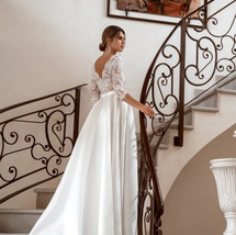 3/4 Sleeves Lace Wedding Dresses Satin Boho Back Button Bridal Gowns A-line image 5