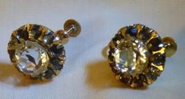 LOVELY Vintage 1930s Hollywood Regency Rhinestone 10k Yellow Gold Screw ... - $135.00
