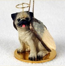 PUG (FAWN) ANGEL DOG CHRISTMAS ORNAMENT HOLIDAY  Figurine Statue Memoria... - $12.98